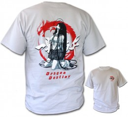 Ikki tousen: T-shirt Kanu on her Knees-Grey (Size L)