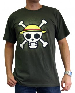 One Piece: Camiseta - Skull with Map - Kaki (Talla M)