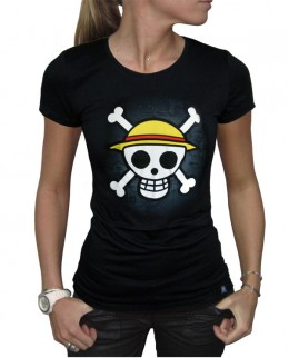 One Piece: Camiseta - Skull with Map - Chica - Negra (Talla L)